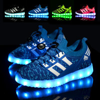 New 2016 Rechargable Kids  Shoes with  USB Sneakers Children Light UP LED Shoes Boys & Girls Luminous Led Sport Shoes Size 25-37