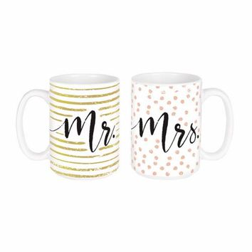 """Mr. and Mrs."" Matching Mugs"