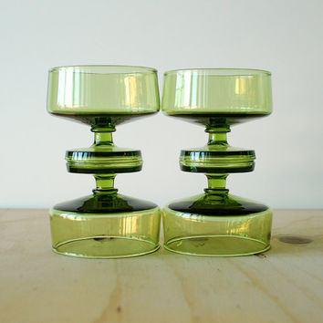 Vintage Green Sherbet Glasses or Coupe Glasses Set of 4