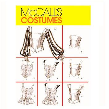 RENAISSANCE CORSET PATTERN Medieval Laced-Up Bodice Laced Tops Dress-Up Costume Bust 32.5 34 36 38 McCalls 4107 UNCuT Womens Sewing Patterns