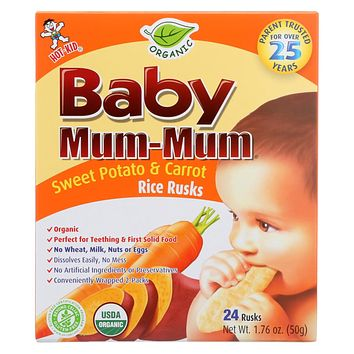 Baby Mum Mum Organic Baby Teeth Rice Rusk Organic Rick Snack With Sweet Potato And Carrot Flavor  - Case Of 6 - 1.76 Oz