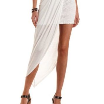 Jersey Knit & Lace Layered Skirt by Charlotte Russe