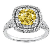 3.86 carat yellow canary cushion center diamond anniversary ring new