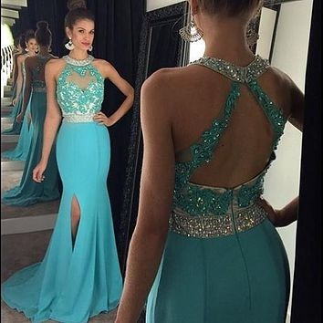 Sexy Halter Long Side Slit Mermaid Prom Dresses 2017 Light Sky Blue Robe de soiree Evening Party Dress For Graduation S17