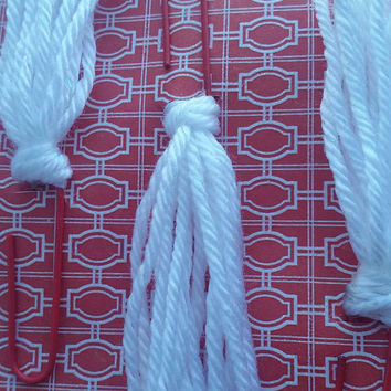 3 White on Red decorative yarn paper clips - Red and white paper clip - Planner accessories