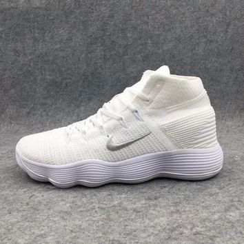 NIKE HYPERDUNK FLYKNIT Fashion Men Casual Shock Absorption Basketball Training Sports Running Shoes Sneakers White I-AHXF