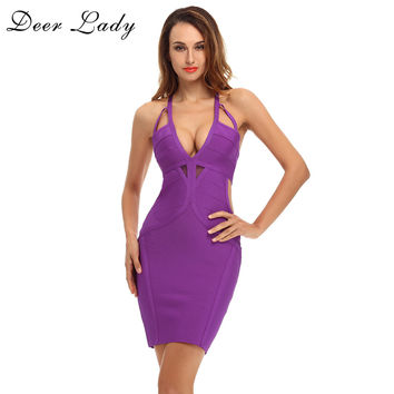 Deer Lady HL Rayon bandage dress 2017 Summer V Neck Sexy Bodycon Dress Mesh Purple Spaghetti Strap Bandage Dress Party Dresses