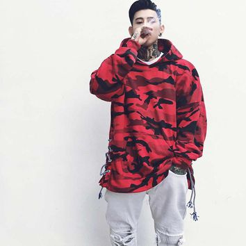 Dropshipping 2017 New Autumn Cotton Hooded Streetwear Red Camo Hoodies Men