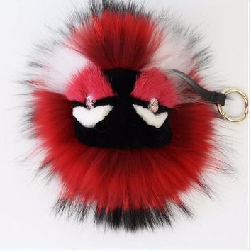 BEADY FUR MONSTER BAG CHARM - TOMMY in RED