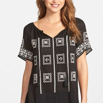 Women's Lucky Brand Embroidered Split Neck Peasant Top