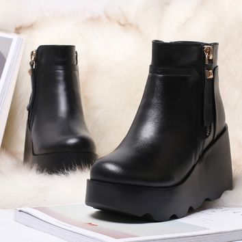 Black Wedge Heels Platform Boots Genuine Leather
