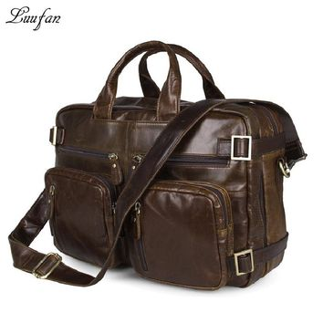 Men's genuine leather briefcase Laptop Real leather daypack with double PC pocket cowhide business bag