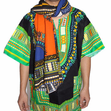 Dashiki Scarf Unisex Kente Print Dashiki Hippie Boho African Traditional Scarf 100% Cotton