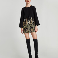MINI DRESS WITH EMBELLISHED EMBROIDERY DETAILS