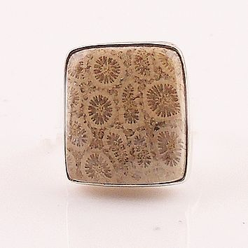 Fossilized Coral Sterling Silver Square Ring - keja jewelry