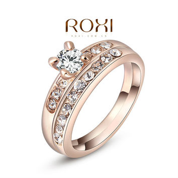 ROXI Christmas Gift Classic Genuine Austrian Crystals Sample Sales Rose Gold Plated Double Ring Jewelry Party OFF,2010218290