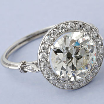 2.53ct Art Deco Round Diamond Engagement Ring GIA certified 18kt  DIAMONDS SOLAR