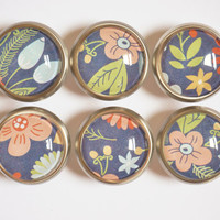 Colorful Blue Floral Glass Knobs- Brass or Brushed Nickel