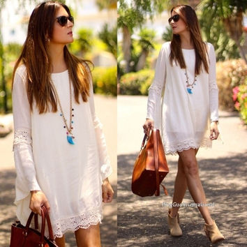 Stylish Ladies' O-neck Long Flare Sleeve Lace Patchwork Loose Casual Dress = 1838542660