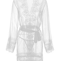 Florala Laced Robe - White