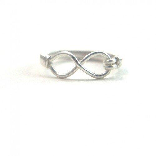 Silver Eternity Ring Handmade Wire Wrapped Infinity Symbol  Size 11 non tarnish silver infinity symbol 11 silver Any Age Unisex | BrainofJen - Jewelry on ArtFire