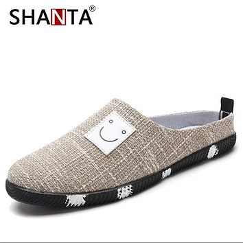 SHANTA New Summer Men Half Slippers Breathable Linen Fashion Mens Shoes Casual Hombre Sandals Lazy Cotton Fabric Slippers