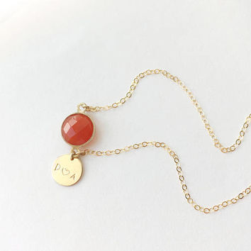 Birthstone Anklet • Initial Anklet with a Carnelian stone on a 14k gold filled chain • Carnelian Jewelry • Gemstone Anklet| 0073AM