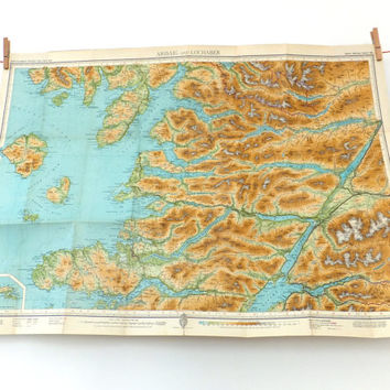 Arisaig and Lochaber vintage map, Scotland, Bartholomew's map sheet 50, Large map of Arisaig and Locahber