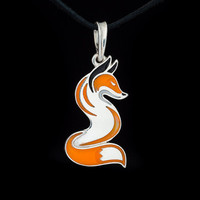 Red Fox Pendant, sterling silver and enamel, handmade