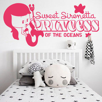 I209 Wall Decal Vinyl Sticker Art Decor Design  mermaid princess ocean sweet sea inscription phrase tail kids room Living Room Bedroom