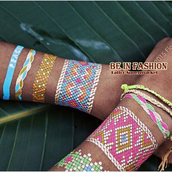 1pc Trendy Color feathers Jewel Body painting Metallic Tattoos Henna paste Arabic Indian Gold Flash body paint Tatto Glitter