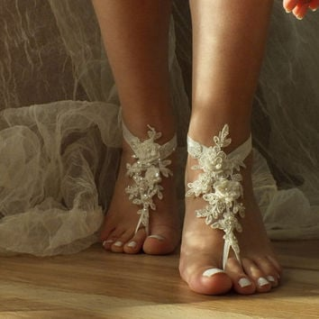 ivory beach wedding barefoot sandals, bangle, wedding anklet,nude shoes