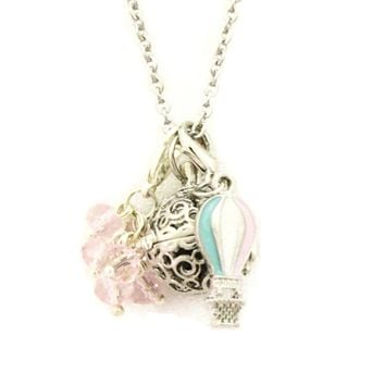 """""""Up and Away"""" Hot Air Balloon Charm Essential Oil Diffuser Necklace- 24"""""""