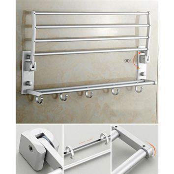 Aluminum hanging rack bathroom  holder in towel rack Folding Shelves Bathroom Accessories set  Kitchen tools with hooks