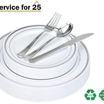 125 Piece Silver Plastic Place Setting Set Service for 25 with Silver Cutlery - Disposable & Heavy Duty Includes: 25 Dinner Plates, 25 Dessert Plates, 25 Forks, 25 Knives, 25 Spoons - Stock Your Home