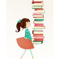 Library Girl Art Print by Stephanie Fizer Coleman