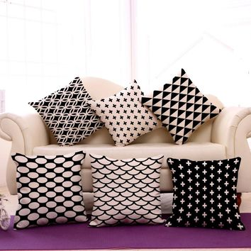 "Pop Black and White Geometry Emoji Throw Pillow Decorative Massager Vintage Pillows Cover Linen DIY Home Decor Gift ""18X18''"