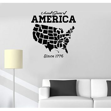 Vinyl Decal United States of America USA Map Decor Wall Stickers Unique Gift (ig2679)