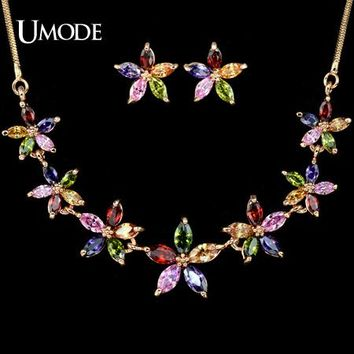 UMODE Marquise-cut multicolored CZ Sun Flower Earring and Necklace Jewelry Set US0007
