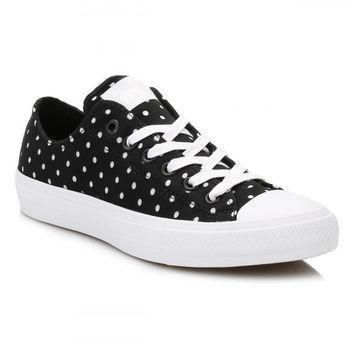 converse all star chuck taylor ii black white shield trainers