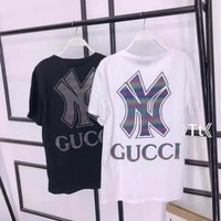 """"""" Gucci"""" Woman Casual Fashion Letter Luminous Printing Loose Large Size Short Sleeve T-Shirt Tops"""