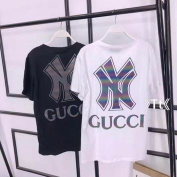 """ Gucci"" Woman Casual Fashion Letter Luminous Printing Loose Large Size Short Sleeve T-Shirt Tops"