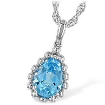 "Ben Garelick Pear Cut Blue Topaz ""Bubble"" Pendant"