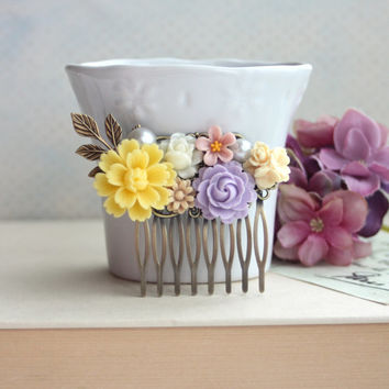 Shades of Yellow, Purple, Ivory, Pink, Brown Flower Filigree Hair Comb. Vintage Style Comb. Bridesmaids Hair Accessories. Wedding Hair Comb