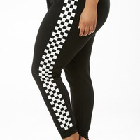 Plus Size Checkered Drawstring Joggers