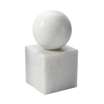 786021 White Marble Minimalist Bookend