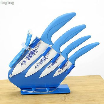 "High Quality Blue Flower Painted Zirconia Ceramic fruit kitchen Knife Set Kit 3"" 4"" 5'' 6''inch Peeler+Free shipping"