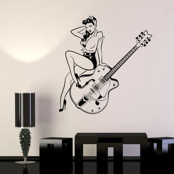 Vinyl Wall Decal Pin Up Style Retro Girl Guitar Musical Instruments Store Stickers Unique Gift (976ig)