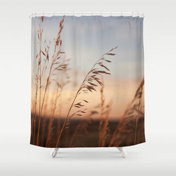 Wheat Field at Sunset Shower Curtain, Nature Shower Curtain, Photo Shower Curtain, Unique Shower Curtain, Brown Shower Curtain, Farm Decor