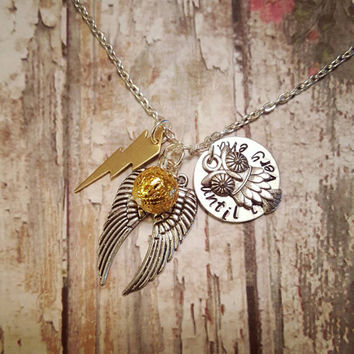 Harry Potter Necklace with Snitch Owl and Lightning Bolt - Snitch Necklace - Custom Harry Potter Jewelry - Until the Very End Necklace